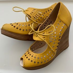 Restricted Shoes - Yellow laser cut wedges with laces